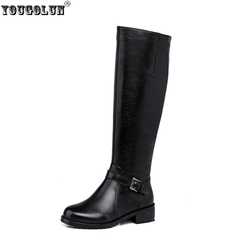 YOUGOLUN women fashion knee high boots woman buckle winter thigh high boots women's genuine leather boots low heels heel shoes yougolun woman nubuck winter over the knee snow boots 2018 women thigh high boots ladies square heels thick plush warm shoes