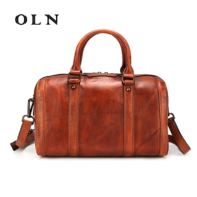 OLN New Arrival Genuine Cow Leather Bags Women Vintage Pillow Handbag Ladies Solid Casual Small Crossbody Wipe color ShoulderBag micocah new arrival women handbag 2018 cute solid color women purse crossbody bags green lcs089