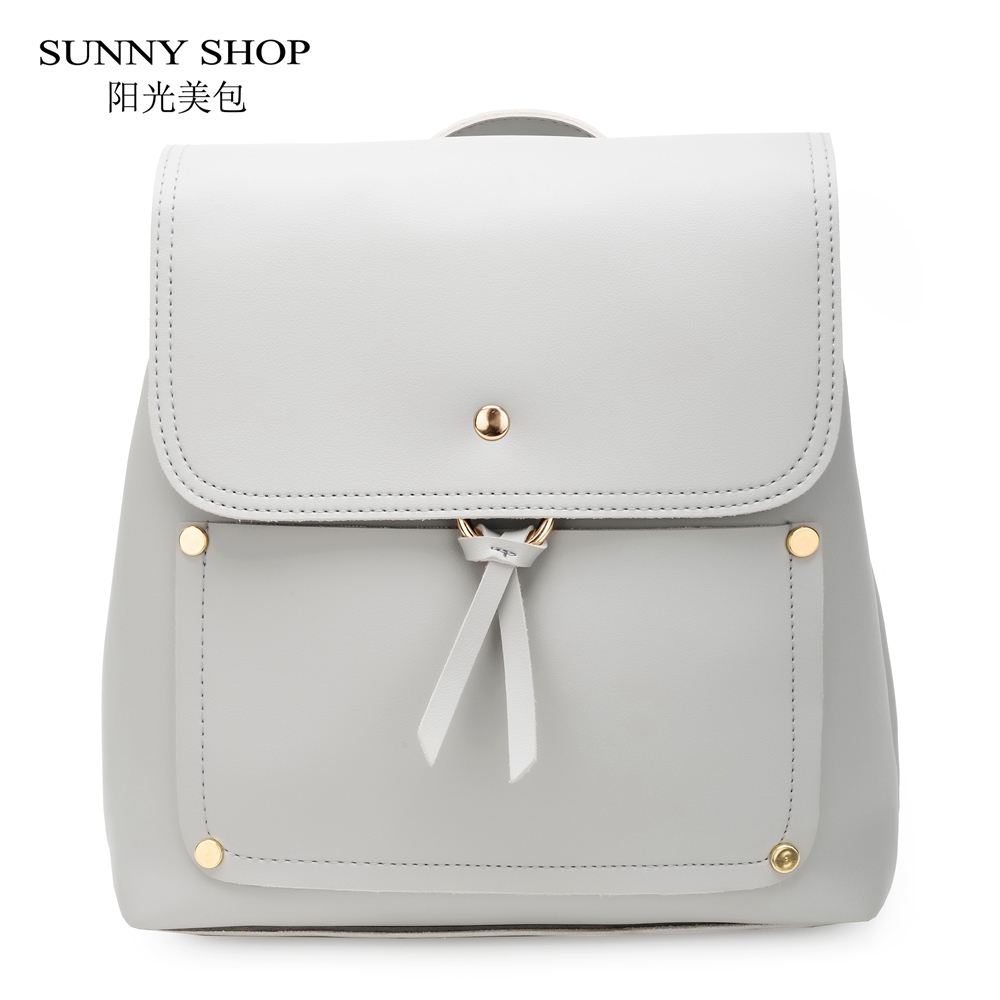 SUNNY SHOP Korean Style Candy Color Small Backpack For Women 2018 Ladies PU Leather Bagpack School Notebook Book Bag College