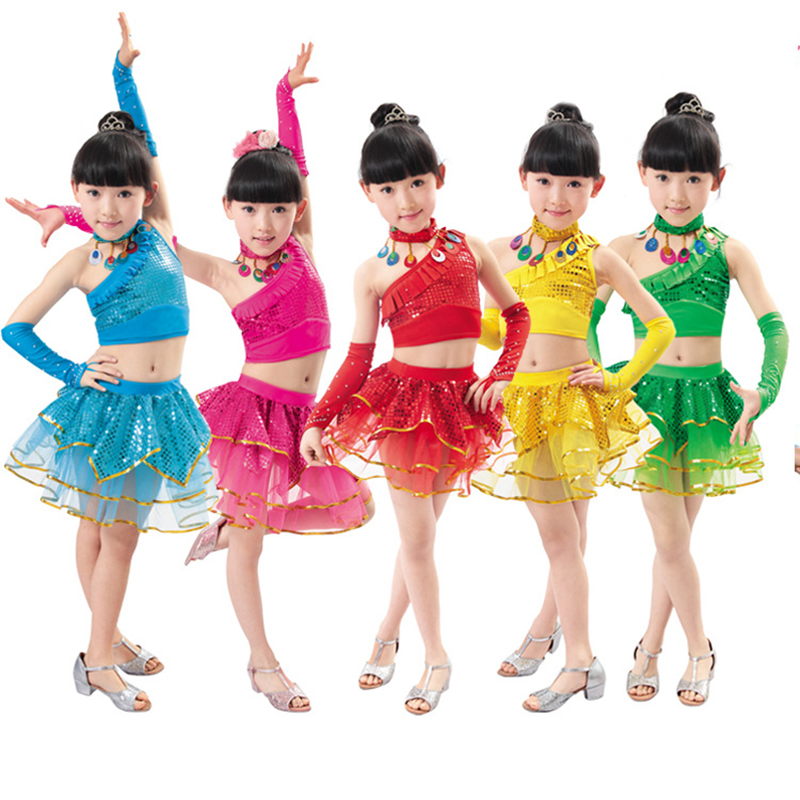 Free shipping Girl's dance clothes child summer performance stage costume wear sequins dance dress kindergarten perform JQ-197