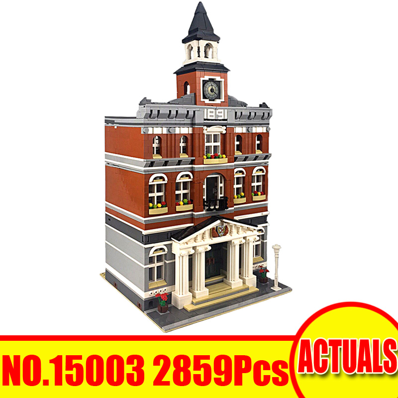 15003 2859Pcs Lepin City Street Figures Town Hall Model Building Kits Blocks Bricks Set Toys For Children Compatible With 10224 10646 160pcs city figures fishing boat model building kits blocks diy bricks toys for children gift compatible 60147