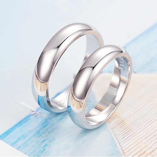 Fashion Jewlery Pair Simple Smooth white gold color Couple Wedding
