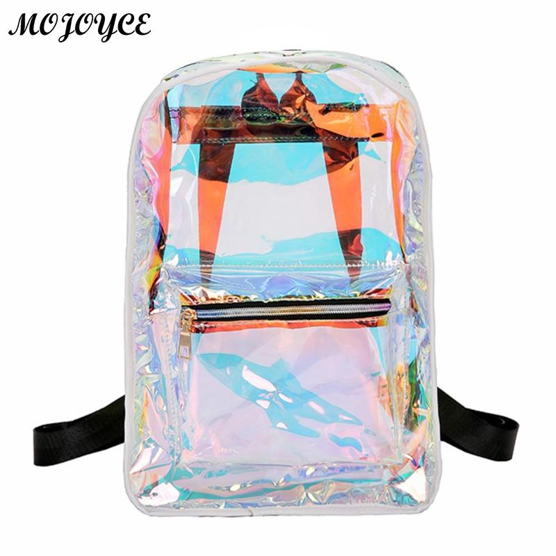 New Transparent Holographic Backpack Korean Style Small Rucksack For Girls Shining Hologram Shoulder Bags Mochilas Feminina