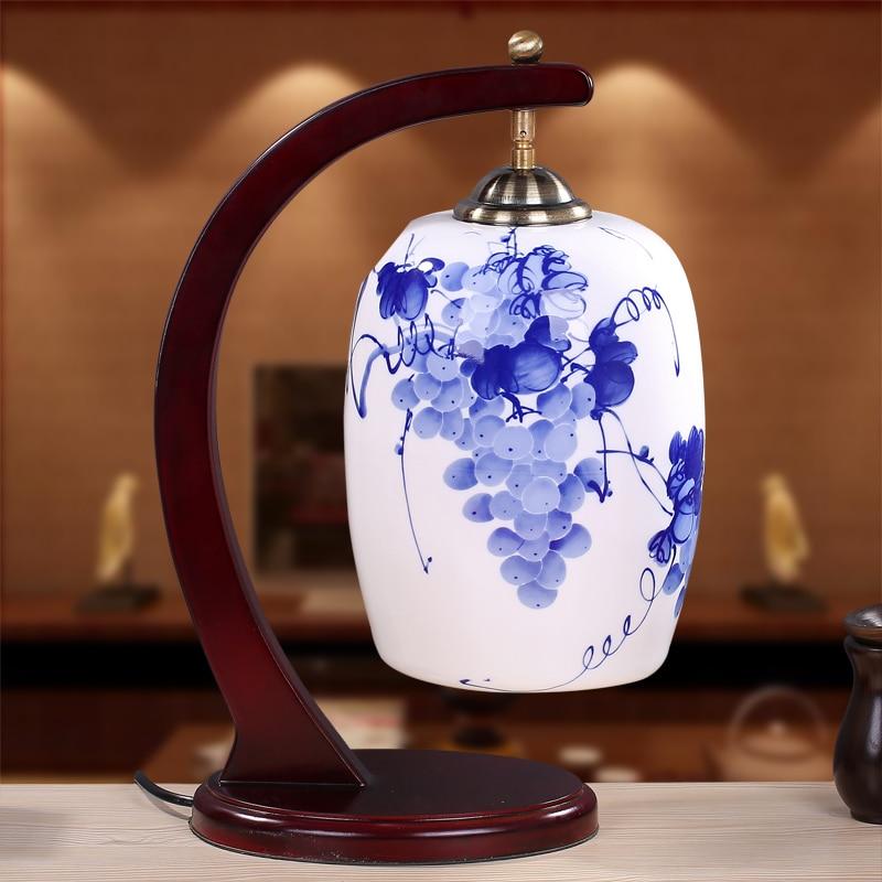 Chinese light ceramic creative new table light bedroom bedside lamp LED lamp table lamp room retro study ZA1127945
