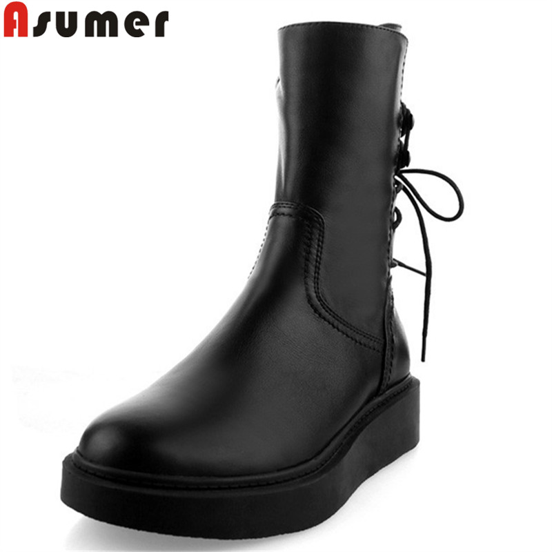 ASUMER black fashion autumn winter boots women round toe genuine leather boors platform flat with boots cross tied ankle boots autumn winter women boots fashion flat heel casual zipper ankle boots genuine leather round toe platform martin boots k573