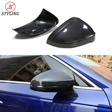 все цены на A5 Rear View Mirror Cover For Audi S5 A4 B9 Dry Carbon Fiber Mirror Cover caps Replacement style 2016 2017 2018 2019