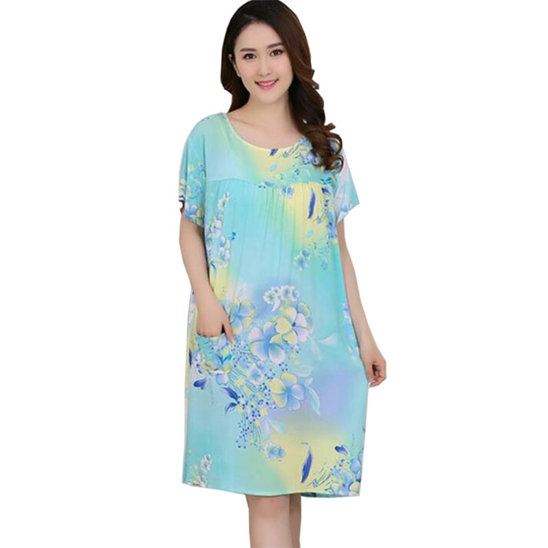 2018 summer Women plus size dress middle aged Cotton Short sleeve Loose Casual Large size printing dress Mother dress LY799