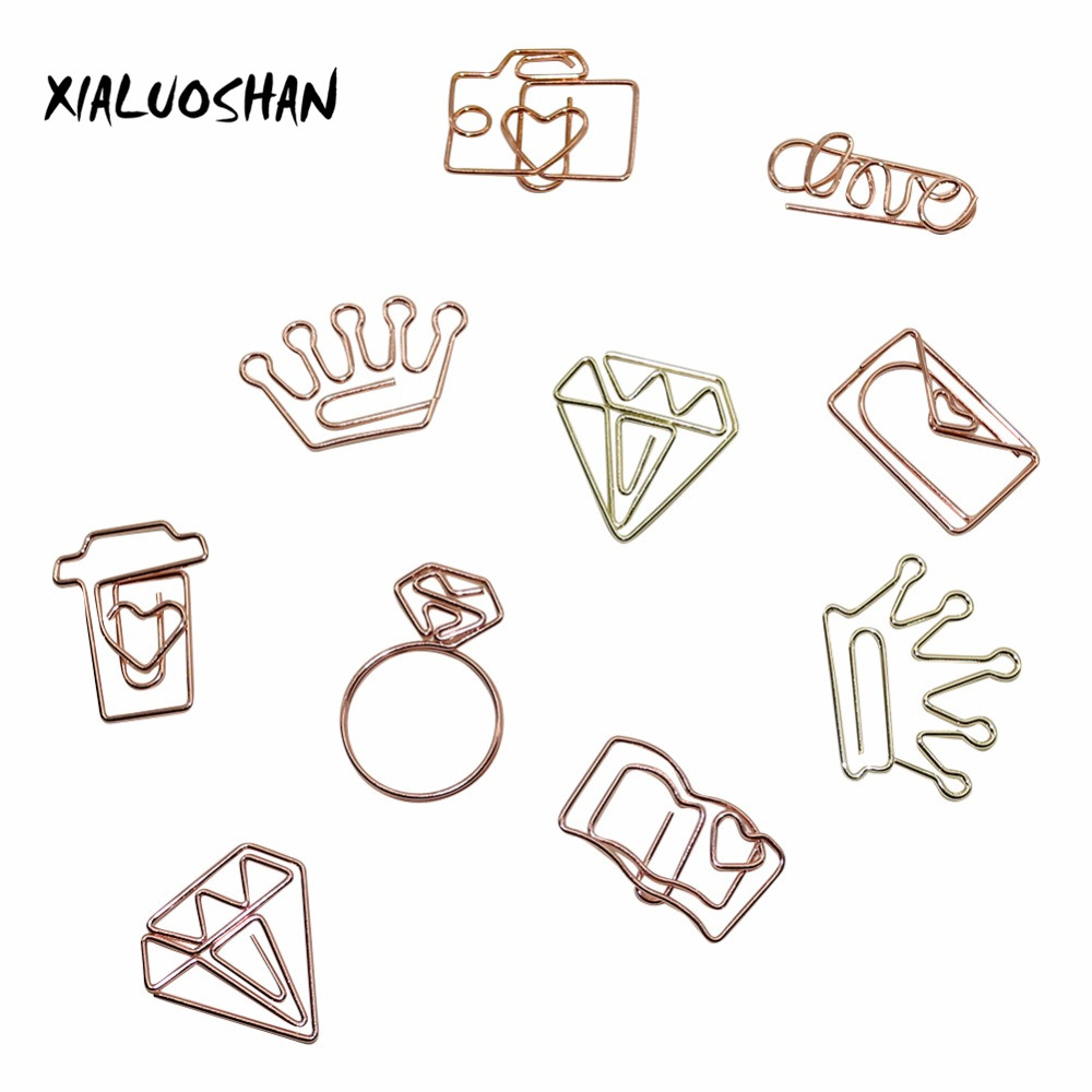 New Rose Gold / Gold Diamond Love Crown Camera Coffee Cups Metal Bookmarks Notes Folder Paper Clip 10 Pcs/lot