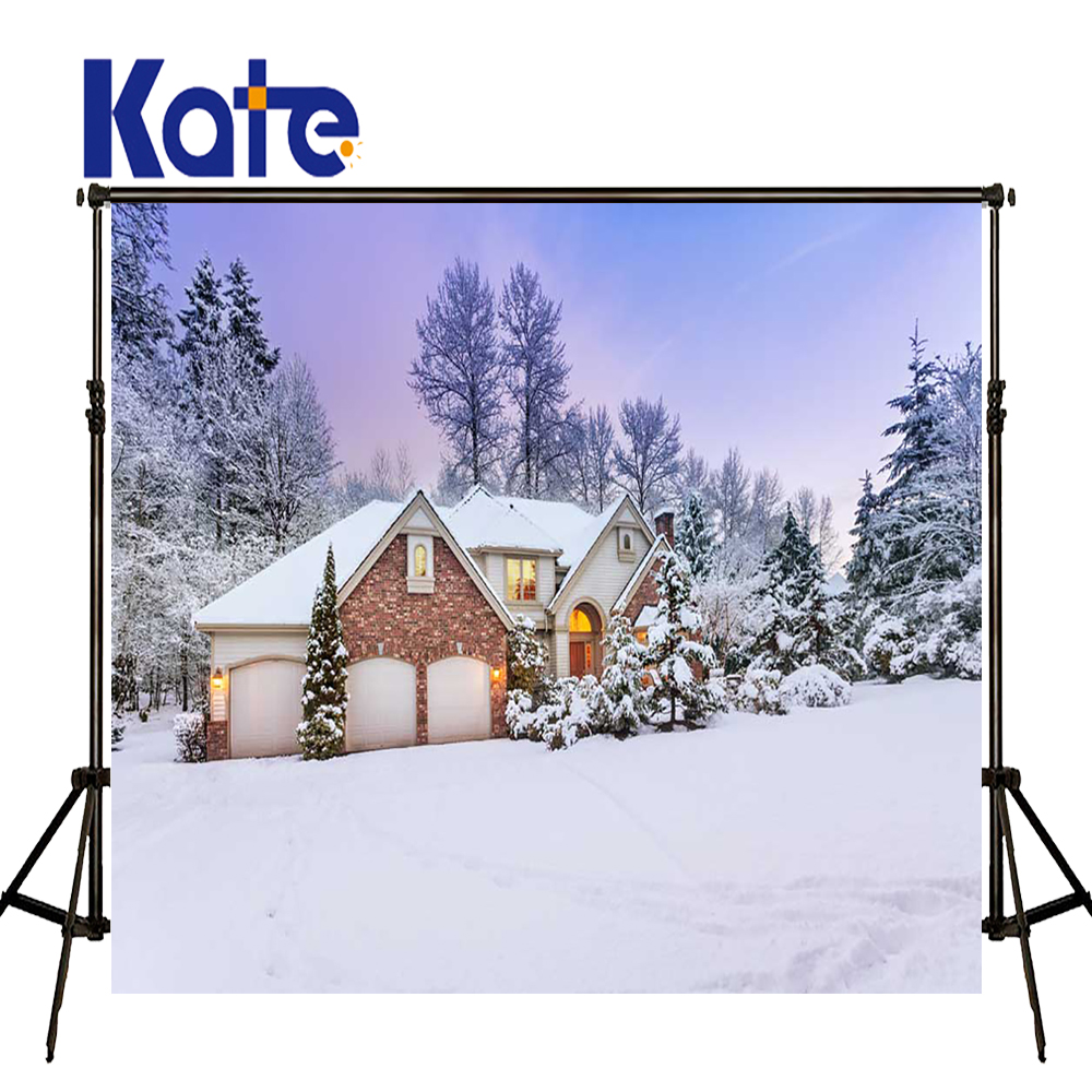 KATE Photo Background 5x7ft Winter Photography Backdrops Christmas Village Houses Backdrop Snow Forest Background for Studio 5x7ft vinyl winter freeze snow ice world backdrops photography background for children photo studio props backdrop