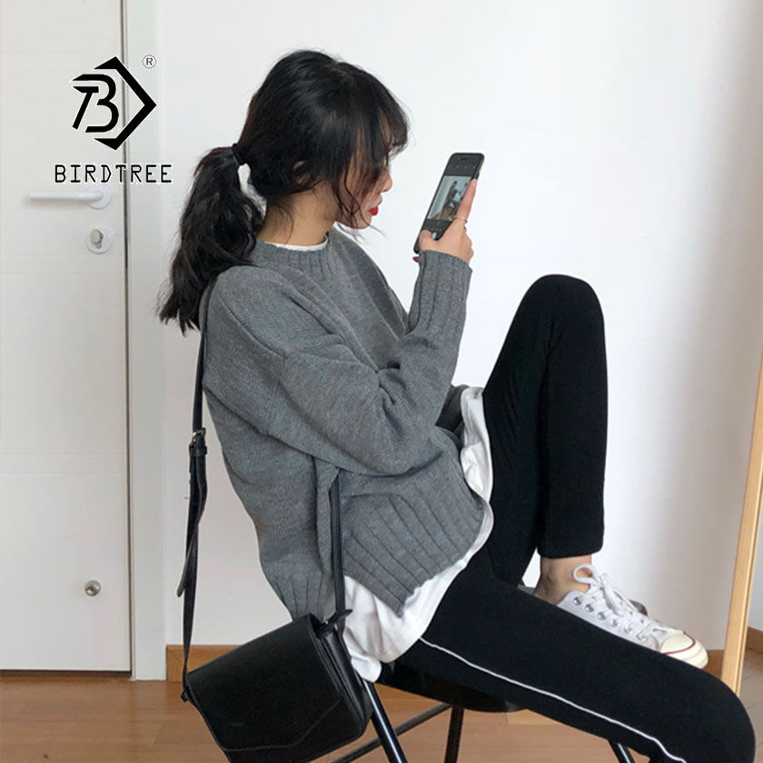 2019 Autumn New Women's Pullovers Sweater O-neck Solid Loose Full Sleeve Korean Simple Fashion Casual Style Hot Sale T97213D