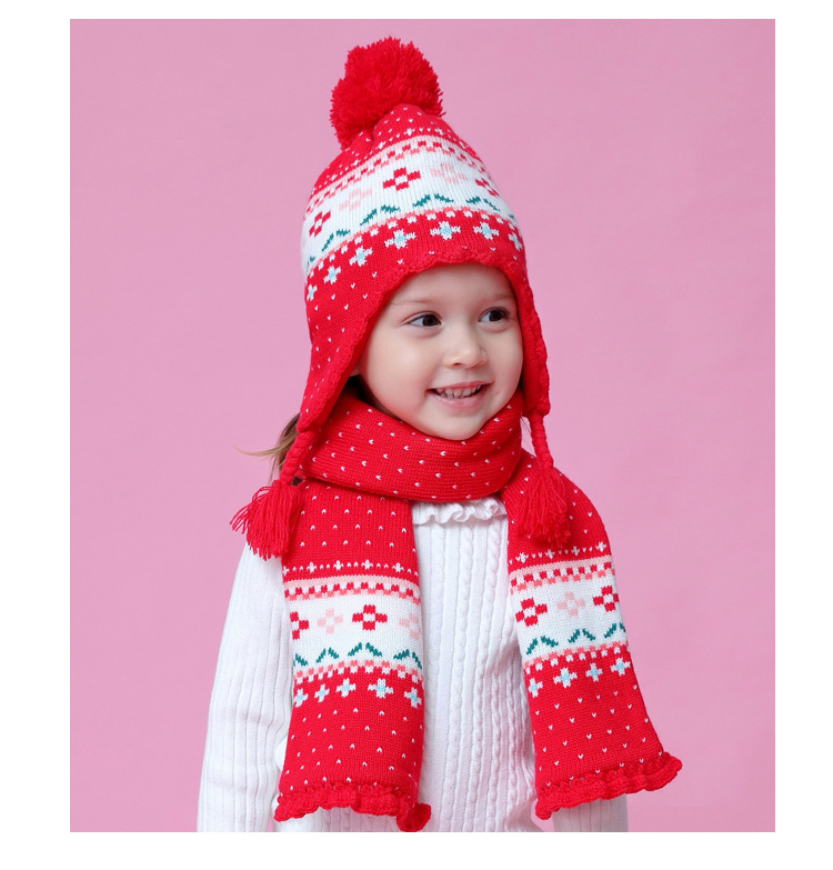 Новые зимние толстые детские шляпа милый цветок красный шапка+ шарф теплую шапку для девочек детей Рождественский подарок фото реквизит BMZ86