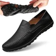 Летняя мужская обувь; Повседневная Роскошная Брендовая обувь; коллекция года; мужские лоферы из натуральной кожи; мокасины; итальянские дышащие водонепроницаемые Мокасины без застежки; JKPUDUN