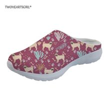 eac6d088202f Twoheartsgirl Trendy Fashion 2018 Floral Puppy Pug Slippers for Women  Summer Home Mesh Flat Shoes Breathable