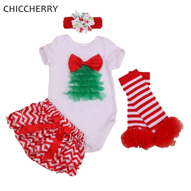Ano novo & Roupa Do Natal Do Bebê Conjunto Bodysuit Bebê Recém-nascido Headband Bloomer Legwarmer Vestido De Bebe Criança Roupa Infantil
