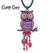 Cring Coco Large Owl Pendant Vintage Long Rope Chain Enamel Animal Necklace Crystal Red Bird Necklaces for Women Woman Jewelry