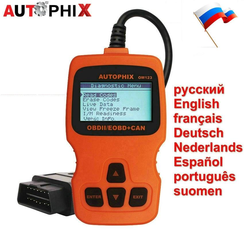 imágenes para Escáner de Diagnóstico Auto OBD2 AUTOPHIX OM123 OBD ii Lector de Código de en Ruso De Gas Diesel Analizador Escáner Automotriz Coche PK ELM327