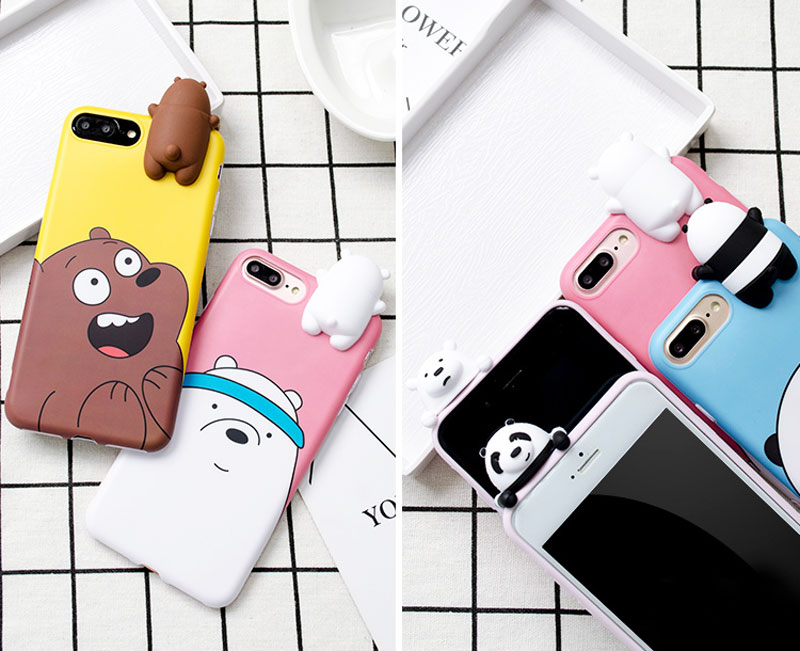 3D Cute Cartoon Silicone Case for Samsung Galaxy S7 edge S8 S9 Note9/8 for iPhone 5 5S 6 7 8 Plus X We Bare Bears Brothers Cover