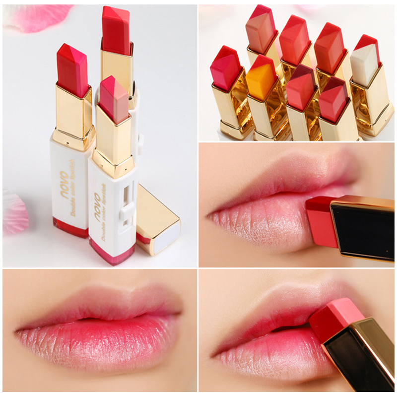 NOVO Lips Makeup Double Color Gradient Lipstick 10 Color Gloss Korea Makeup Lips Cosmetic Face Make Up Waterproof Famous Brand 目