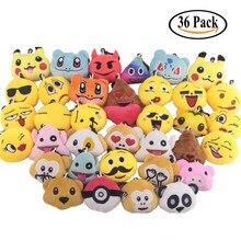 36PCs Pack Mini Emoji Plush Toy, Emoticon Keychain Decorations, For Party Decoration, Supplies Favors
