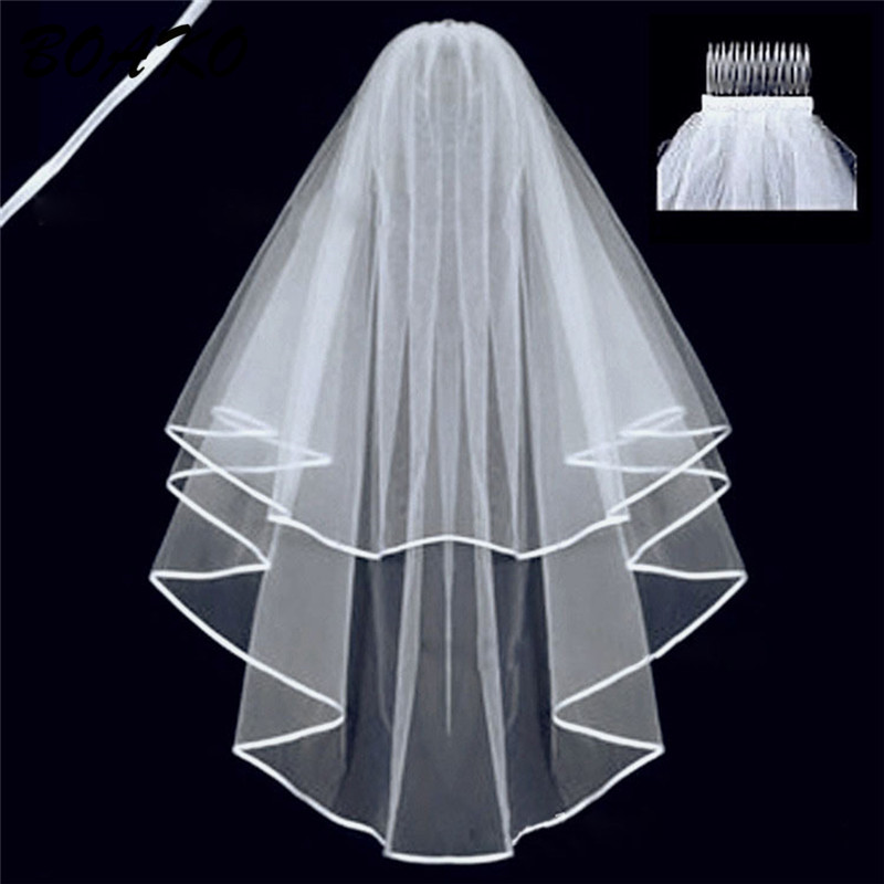 BOAKO Two Layers Short Tulle White Wedding Veils White Ivory Bridal Veil With Comb Elegant Cathedral Mariage Accessories purdah in Bridal Veils from Weddings Events