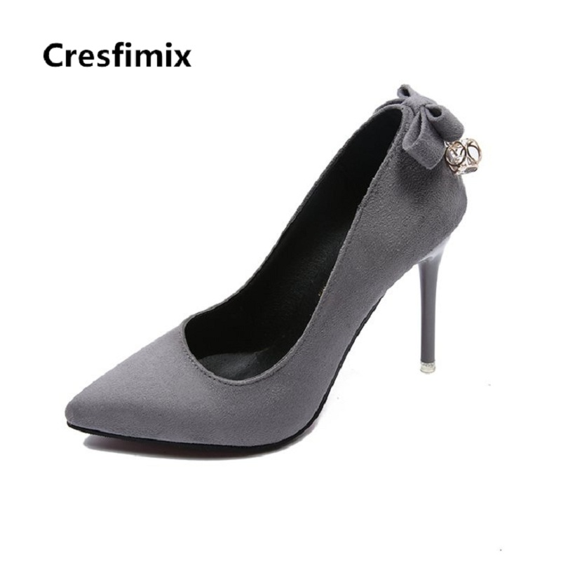 Cresfimix women fashion party night club 10cm grey high heels lady casual spring summer slip on high heel shoes cool high heels cresfimix women fashion