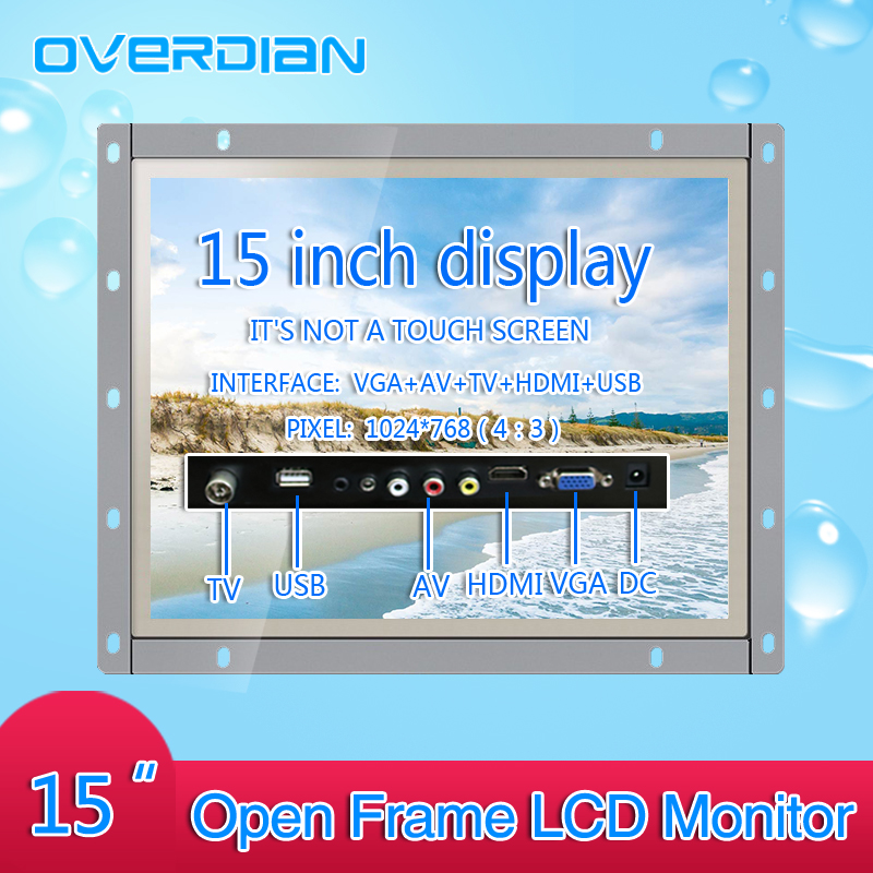 15Inch Industrial Control Lcd Monitor VGA/HDMI/AV/TV/USB Interface White Open Frame Non-Touch Screen Metal Shell 1024*768 10 4 10 vga dvi interface non touch industrial control lcd monitor display 1024 768 metal shell hanger card installation 4 3