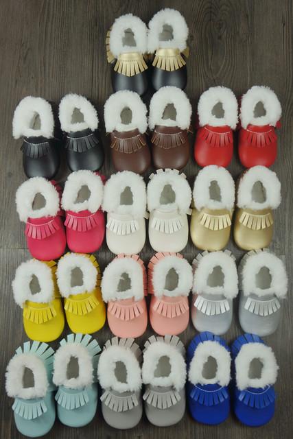 Nuevos zapatos de bebé Primeros Caminante con FurToddler PU mocasines bebé franja de invierno espesar niño niñas Zapatos 11.5-15 cm envío gratis