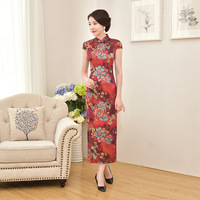 A Lot Of 10 Pcs Chinese Vintage Style Short Sleeve Long Dress Sexy Cheongsam Slim Print