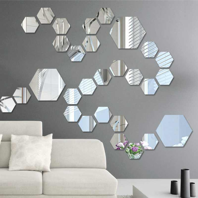 12 Pcs 3D Spiegelwand Sticker Acryl Behang TV Kamer Badkamer DIY Verwijderbare Muurstickers Hexagon Geometrische Stickers 4.6*4.2