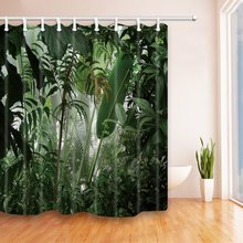 Tropical Plants Decor Jungle Green Banana Leaves Shower Curtain Mildew Resistant Polyester Fabric Bath Curtain Decorations