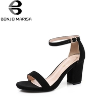 BONJOMARISA Women S Ankle Strap Buckle Up Chunky High Heels Summer Shoes Woman Open Toe Platform
