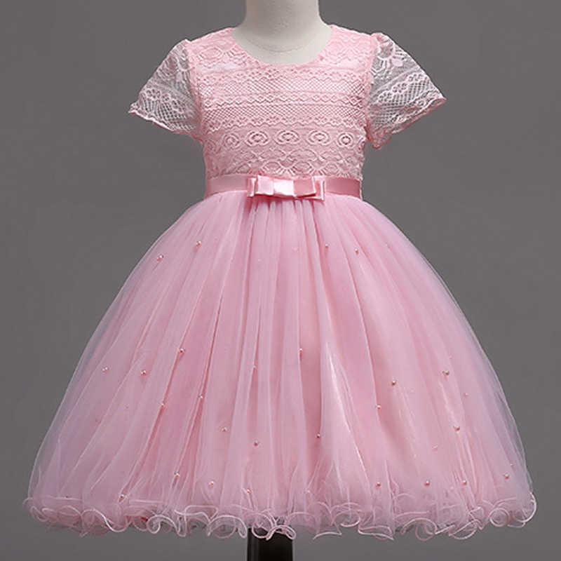 8c8f0e2bb 2019 verano vestido de encaje para las niñas elegante princesa flor de la  boda de las