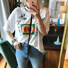 Free Shipping GC Slogan Printed Rose Embroidery T-shirts for women self portrait fashion short sleeve Brand Top female