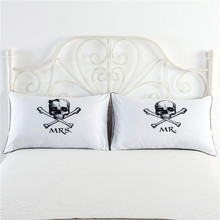 """White black heart&skull printing couple pillow cases home pillow cover for bed 2pcs/lot 48x74cm/19""""x29""""inch funda de almohada"""