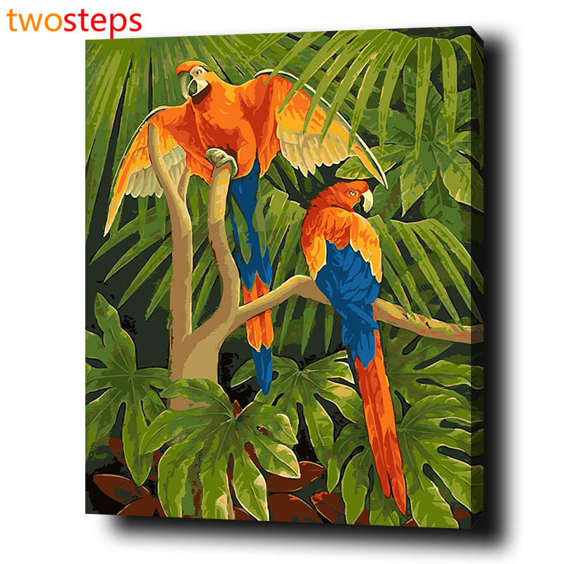 TwoSteps Liefde Vogels Diy Digitale Canvas Olieverf Nummers Pictures Coloring Nummers Moderne Acryl Verf Nummer Kits