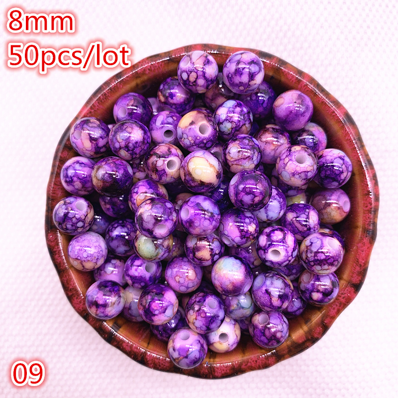 20Pc Mixed Crystal Crack Czech Glass Round Loose Spacer Bead Jewelry Finding 8mm