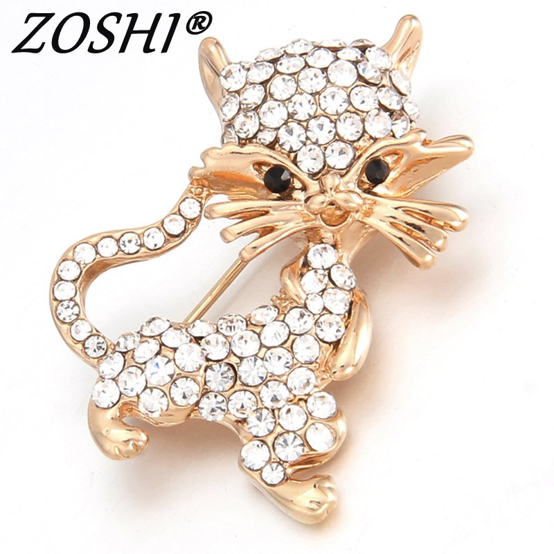 ZOSHI Cute Little Cat Brooches Pin Up Jewelry For Women Suit Hats Clips Corsages Brand Bijoux Brooch Bijouterie Free Shipping