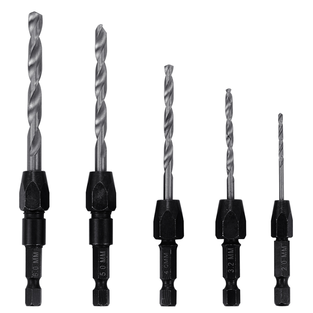 5pcs Replaceable 1/4 Hex Shank Quick Change HSS Twist Drill Bit Set Hole Cutter 13pcs lot hss high speed steel drill bit set 1 4 hex shank 1 5 6 5mm free shipping hss twist drill bits set for power tools