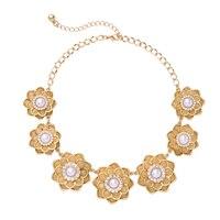 Mode Or Couleur Acrylique Perle Fleur Collier Femmes Sautoirs Charme Lotus Col Collier Fait Main
