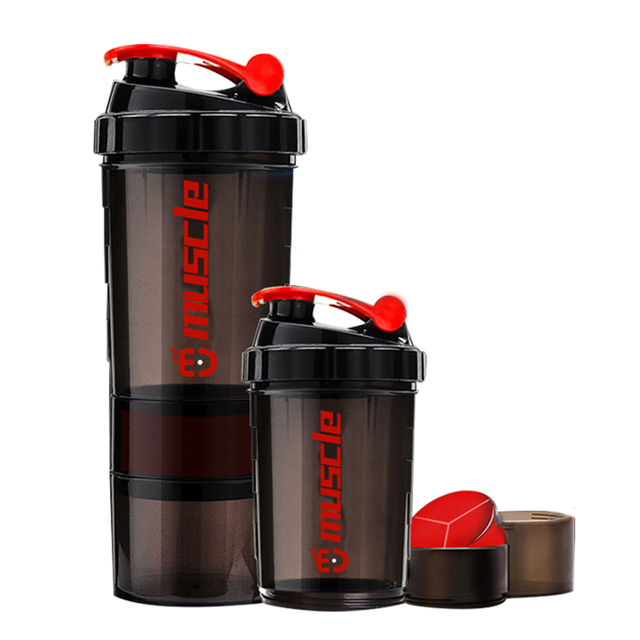 Hot New Protein powder shaker bottle fitness  Mixer Sports Fitness gym 3 Layers special whey protein shaker milk shaker