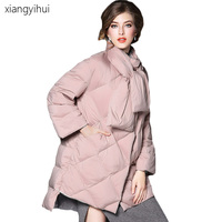 Winter Fashion Women Jackets Black Blue Pink Parka Cotton Padded Long Sleeve Irregular White Dark Down