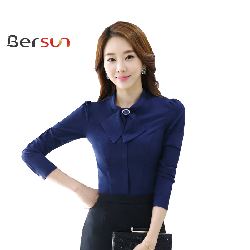 Spring Autumn Long Sleeve Ribbon O Collar Womens Work ...