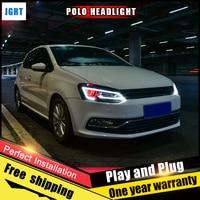 2PCS Car Style LED Headlights For VW Polo 2011 2016 For VW Polo Head Lamp Lens