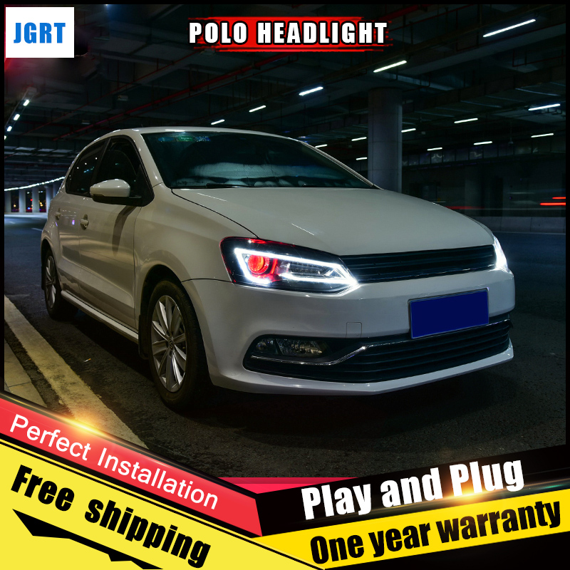 2PCS Car Style LED headlights for VW Polo 2011-2016 for VW Polo head lamp Lens Double Beam H7 HID Xenon bi xenon lens auto part style led head lamp for vw polo led headlights 11 13 for polo drl h7 hid bi xenon lens angel eye low beam