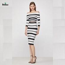Boussac Women Rayon Bandage Dress Suits Black white Stripes Slash Neck Slim Fit Elegant Knited Fabric Top and Skirt Suit