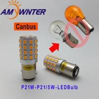 AMYWNTER 12V P21W Canbus Led Lamp Turn Signal Running Lights BA15S P21W 5W Brake Lights Bulbs