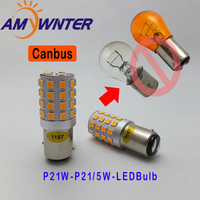 AMYWNTER 12V P21W Canbus Led Lamp Turn Signal Running Lights BA15S P21W 5W Brake Lights Bulbs