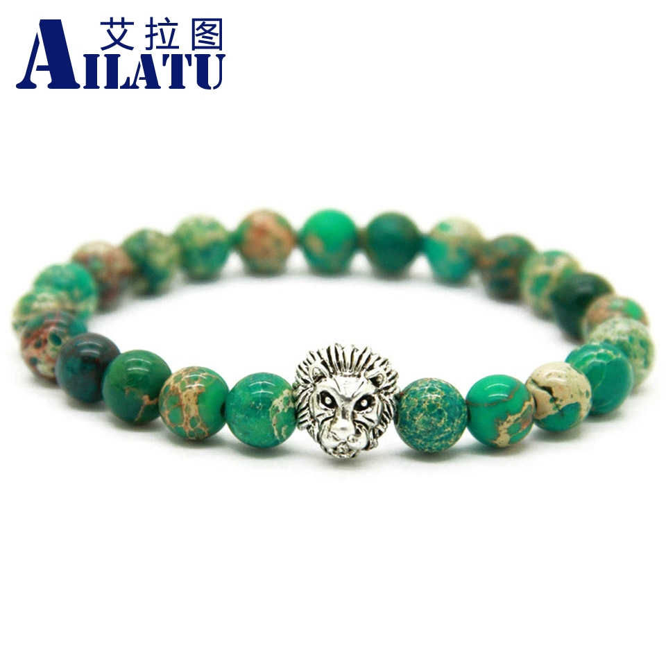 Ailatu New Design Nice men's Silver Color Lion Head Bracelet Made with 8mm Green Sea Sediment Stone Beads as Gift for Party