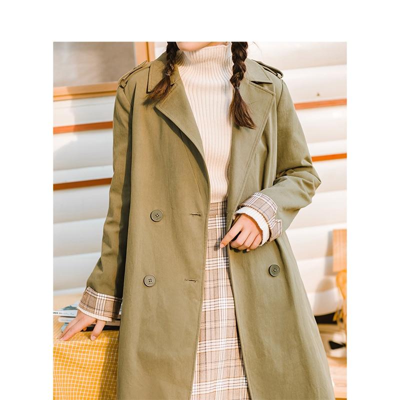 Femelle Inman Trench Green coat Section Femmes Taille Hiver khaki Littéraire Décontracté Army Longue Rétro Nouveauté fRxERnqr