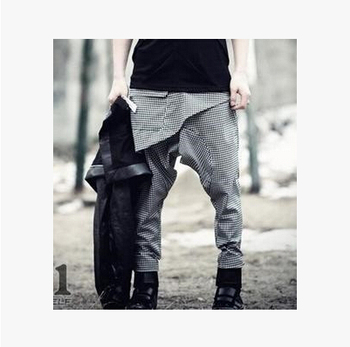 2016 hip-hop fashion personality low-rise pants harem  plaid long trousers male